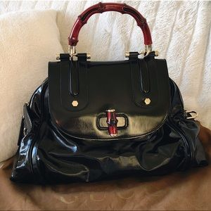 Gucci Patent Leather Bag W Red Bamboo Handle Large
